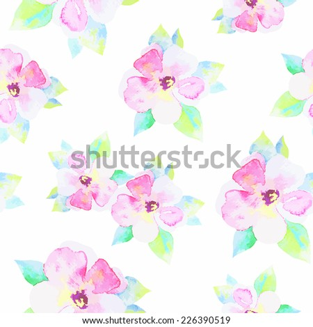 Watercolor vector  flower seamless pattern - stock vector