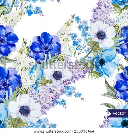 Watercolor Vector Flowers Anemones Lilac Bohopattern Wallpaper