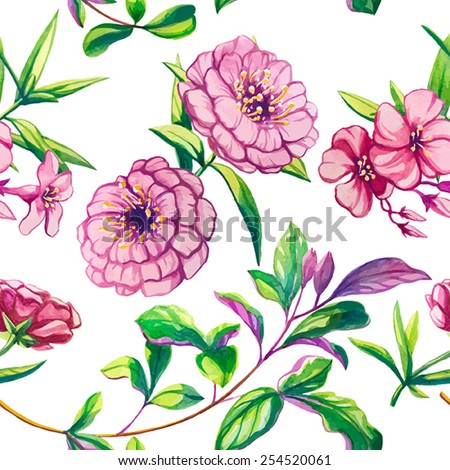 Watercolor vector flowers seamless pattern. Hand drawing. - stock vector