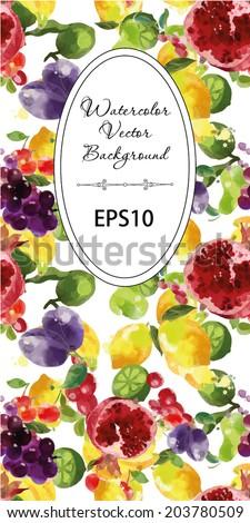 watercolor vector fruits background. Flyer design - stock vector
