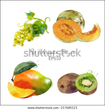 Watercolor vector fruits set of melon, grape, kiwi and mango - stock vector