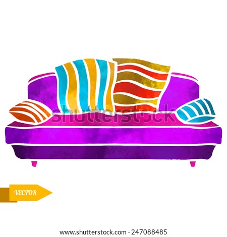 Watercolor vector furniture, sofa with cushions closeup isolated on a white background - stock vector