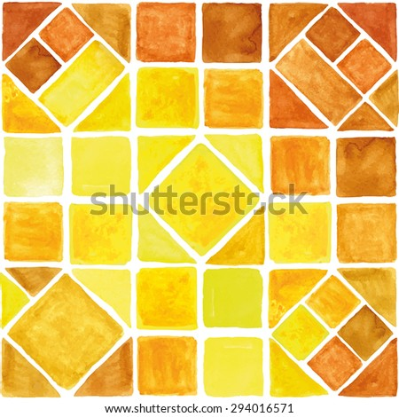 Watercolor vector geometric seamless pattern.Colorful modern abstract summer  background with triangle,rhombus,square tile.Natural texture.Yellow,brown colors.Wallpaper,backdrop,fabric,mosaic. - stock vector