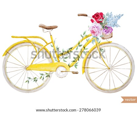 watercolor vector illustration bike basket with flowers - stock vector