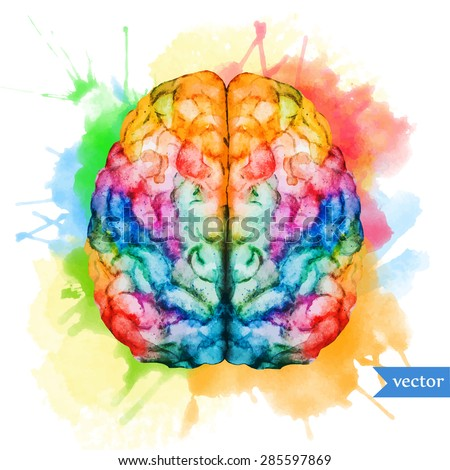 watercolor vector illustration colored brain two hemispheres on the background of bright spots - stock vector