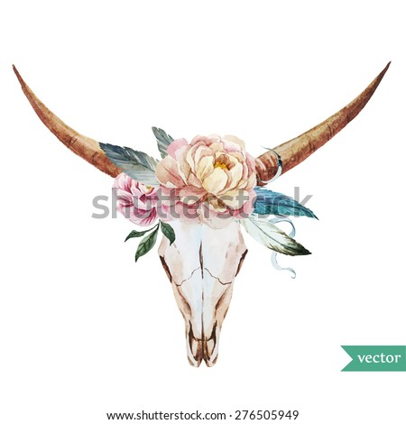 watercolor vector illustration head of a bull with peony and feathers in the style of bo-ho - stock vector