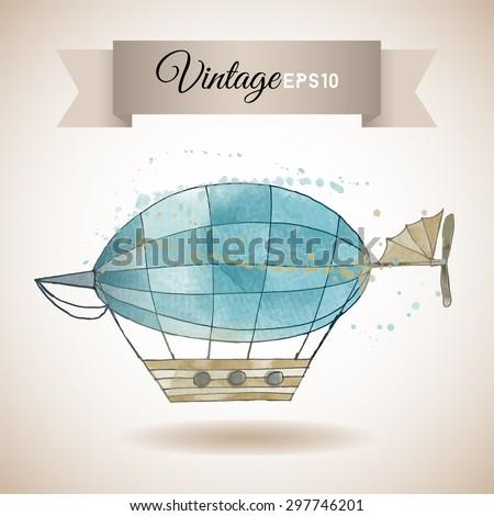 Watercolor vector illustration of vintage zeppelin - stock vector