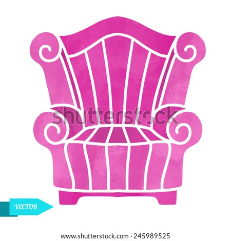 Watercolor vector modern armchair closeup isolated on a white background - stock vector