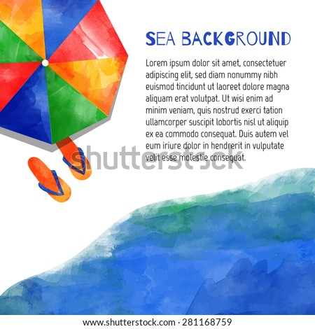 Watercolor vector nautical background. Sea. Beach. Umbrella and marine shoes. Isolated elements for easy use. - stock vector