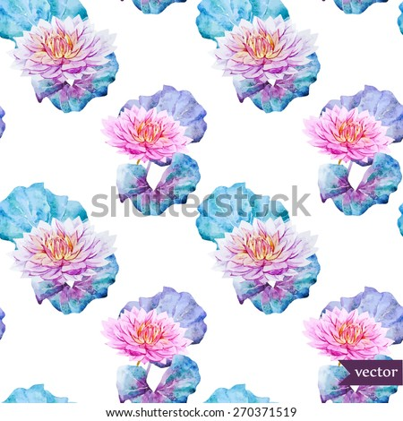 watercolor, vector, pattern, flowers, leaves, swamp, lotus blossom, emerald, pink, tender, wallpaper, background, - stock vector