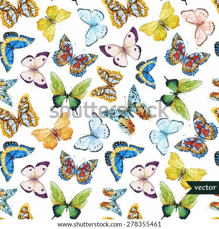 watercolor vector pattern with beautiful butterflies - stock vector