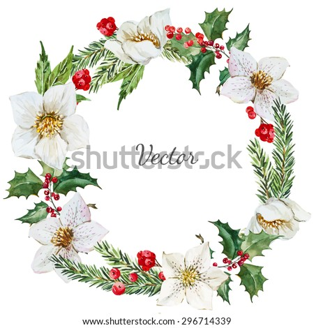 watercolor vector round Christmas wreath, flower hellebore, spruce, needles, holly