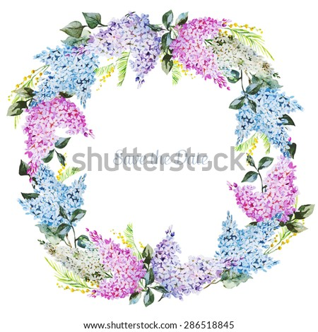 watercolor vector round frame with lilac tender invitation - stock vector