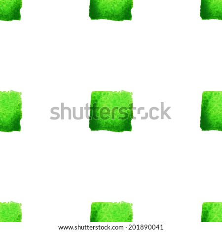 Watercolor vector seamless pattern with  small green squares