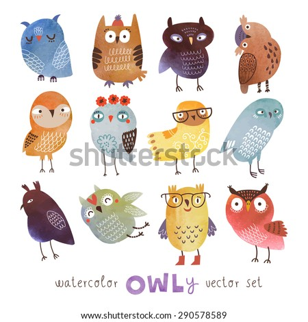Watercolor vector set. Funny owls - stock vector