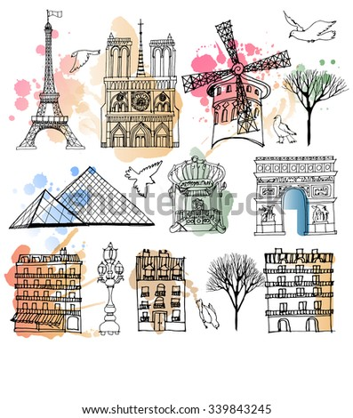 watercolor vector set of paris landmark - stock vector