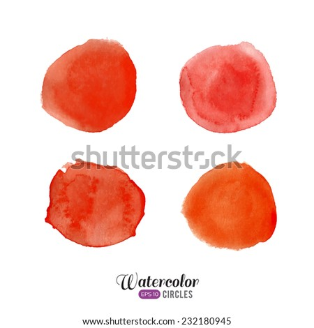 Watercolor vector set. Red circles on white background.