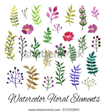 Watercolor vector set with leaves and flowers. Design for invitation and greeting cards. - stock vector