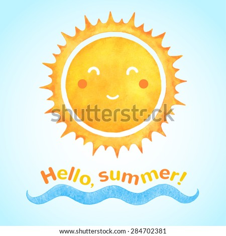 Watercolor vector smiling sun with cartoon funny face and sea wave. Hello, summer!  typographic composition. Holiday, vacation hand drawn illustration. - stock vector