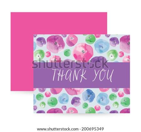 Watercolor Vector Thank You Card Template - stock vector