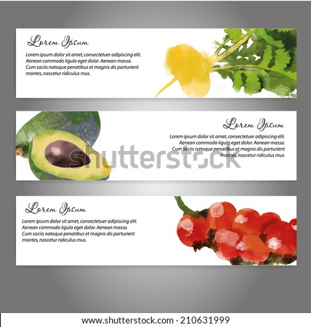watercolor vector vegetables background. Banners with turnip, avocado and cocktails tomatoes - stock vector