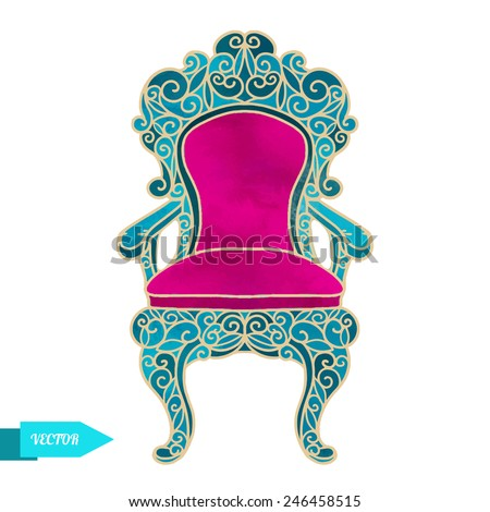 Watercolor vector vintage chair, throne with pattern closeup isolated on a white background - stock vector