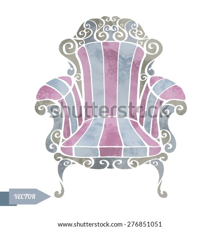Watercolor vector vintage furniture, armchair, throne front view closeup isolated on white background - stock vector
