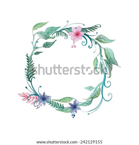 Watercolor vector wreath. Floral frame design. Hand drawn vintage illustration - stock vector