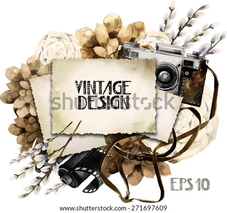 Watercolor vintage card with sepia floral design. Retro SLR camera in leather case  among succulents and pussy-willow branches. Vector design element isolated on white background - stock vector