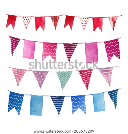 Watercolor vintage flags garlands set in vector. Party, baby room and wedding decor elements with various modern patterns: polka dots, stripes, zigzag.  - stock vector
