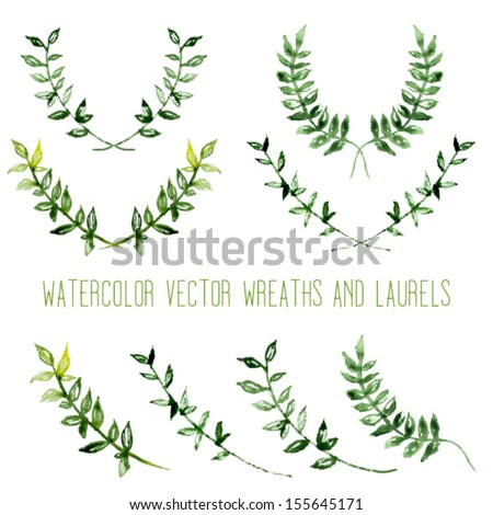 Watercolor vintage floral trendy set of wreaths and laurels - stock vector