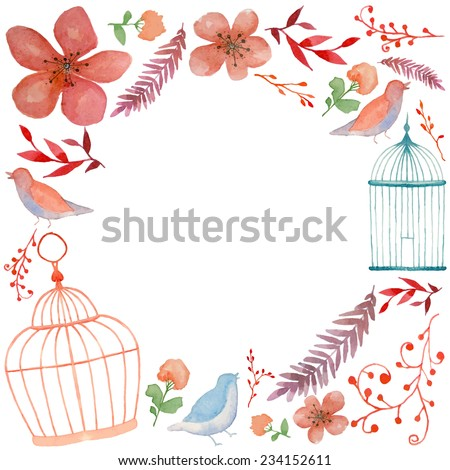 Watercolor vintage round frame with birds, cages, flowers and branches. Hand drawn romantic background - stock vector