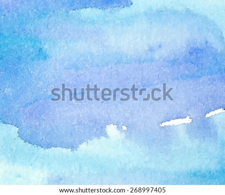 Watercolor water blue violet paper texture hand drawn wavy background. Abstract vector wet brush painted illustration. Smudges and strokes design card for cover, banner, scrapbook, decoration, print - stock vector
