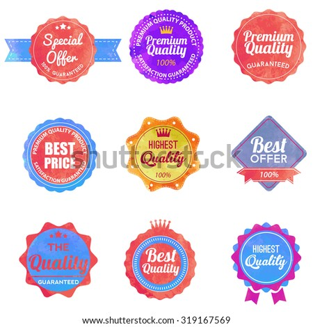 Watercolor Web stickers, banners and labels. Sale arrow tag icons. Discount special offer symbols. 50%, 60%, 70% and 80% percent.  Price tags set. Vector illustration