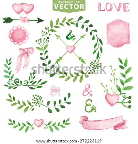 Watercolor Wedding decor.Green branches wreaths and laurels ,pink decor ribbons,badges,hearts,lettering .Hand painted floral,petal decor elements.Design template,invitation.Wedding, holiday Vector  - stock vector