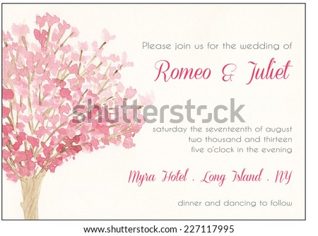 Watercolor wedding invitation template, pink cherry tree - stock vector