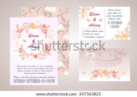 watercolor wedding invitation - vector illustration, can be used to design the invitation to the wedding and greeting cards for Valentine's day and mother's day and other - stock vector