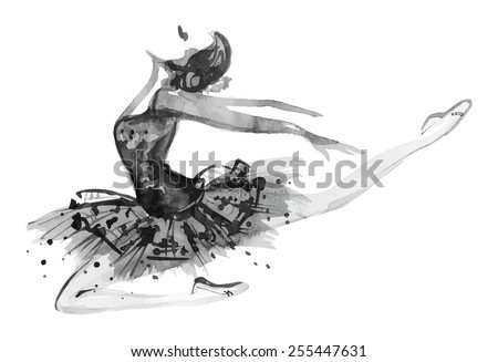 Watercolor white/black ballerina, vector - stock vector