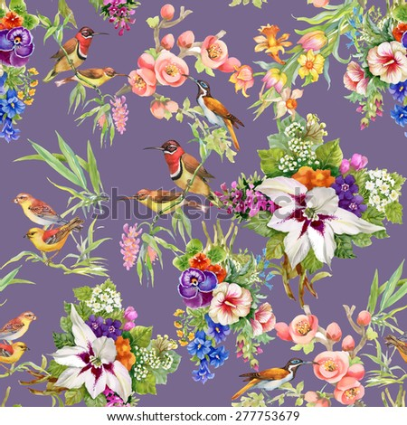 Watercolor Wild exotic birds on flowers seamless pattern on purple background vector illustration