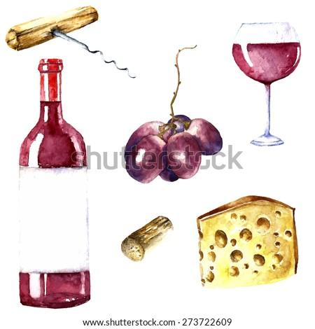 Watercolor wine design elements: wine glass, wine bottle, chees, corkscrew, cork, grape. - stock vector