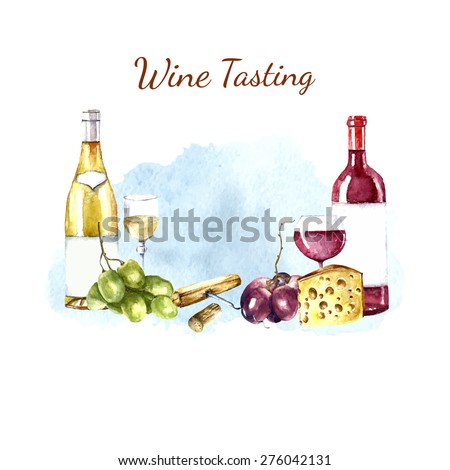 Watercolor wine design elements: wine glass, wine bottle, chees, corkscrew, cork, grape. Vector illustration. - stock vector