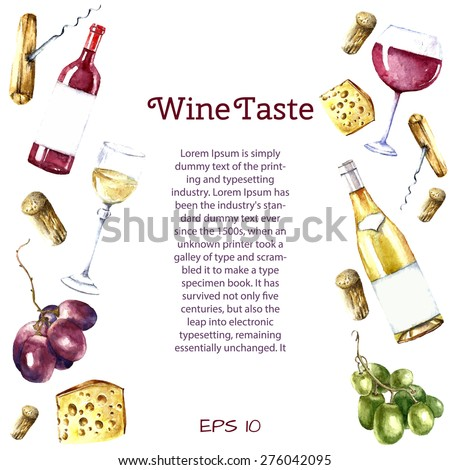 Watercolor wine design elements: wine glass, wine bottle, chees, corkscrew, cork, grape with place for text. Vector illustration. - stock vector
