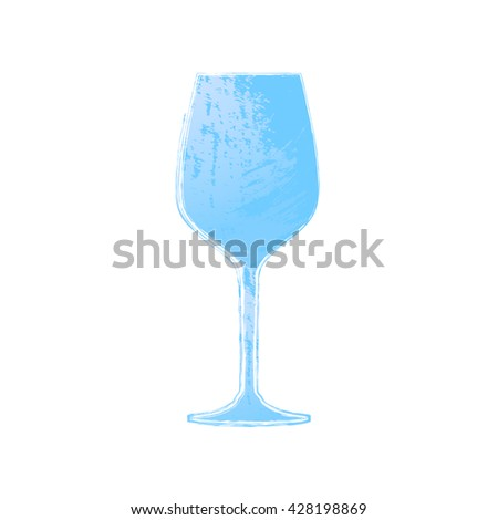 Watercolor wineglass isolated. Painted wine glass. Design element, goblet. Wineglass. Alcohol, wine. Watercolor wineglass. Goblet icon. Watercolor icon of wine glass. Alcohol, wine icon. Watercolor. - stock vector