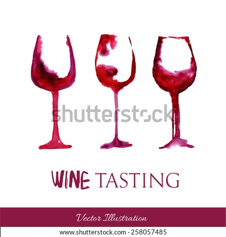 Watercolor  wineglasses. Perfect for wine list. Wine tasting - stock vector