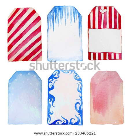 Watercolor winter sale tags. Hand drawn labels set in retro style. Vector objects. - stock vector