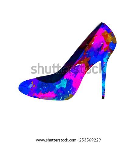 Watercolor Women's shoes. Vector  - stock vector