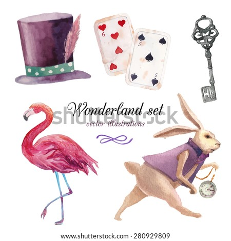 Watercolor wonderland set. Hand drawn vintage art work with white rabbit, playing cards, silver key, cylinder hat and flamingo. Vector fairy tale illustrations isolated on white background - stock vector