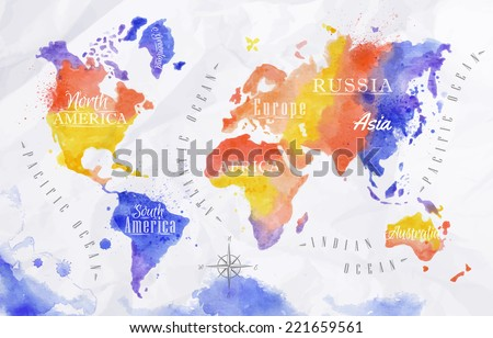 Watercolor world map in vector format in red and purple colors on a background of crumpled paper - stock vector