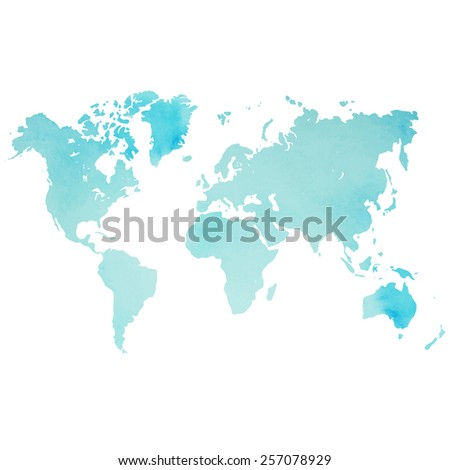 Watercolor world map in vector on wight background. Illustration in vector. - stock vector