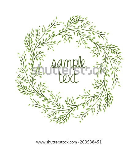 Watercolor Wreath. Branch Frame. Hand Drawn Illustration. Vector. - stock vector